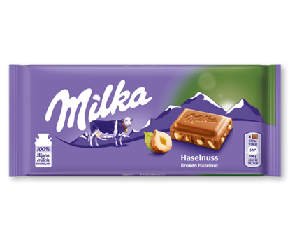 Picture of Milka Haselnuss (Broken Hazelnut) 100g chocolate bars (1 bar)