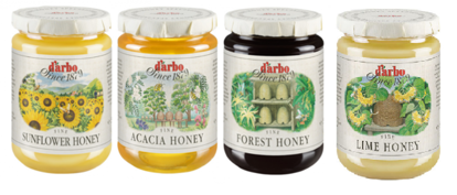 Picture of D'Arbo four-jar honey bundle: Sonnenblumenhonig, Waldhonig, Lindenhonig & Akazienhonig